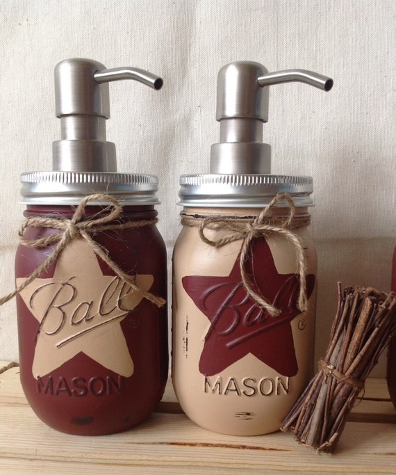 Set Of 2 Rustic Star Mason Jar Soap Dispensers Rustic