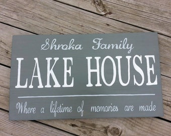Personalized Family Lake House Sign - Lakehouse Name - Wood  Wooden Sign - Hand Painted Personal Custom Rustic Wall decor - Cabin Lodge