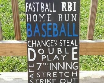 Wooden Baseball Sign - Boys Room Wall Decor - Game Room Sign - Mancave Wall Hanging - Playroom Sign - Custom Sports Sign