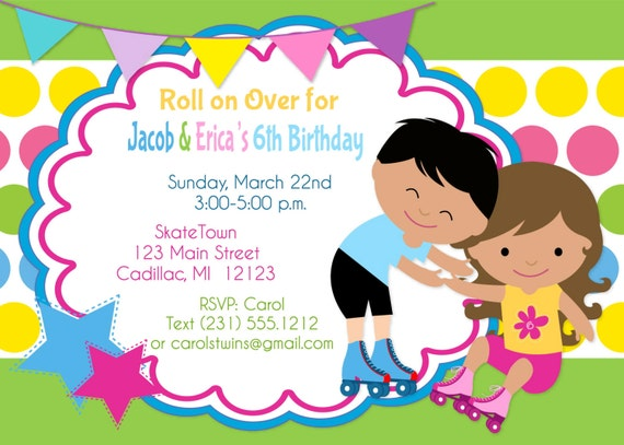 Roller Skate Invitation Twins Birthday Invitation Twins