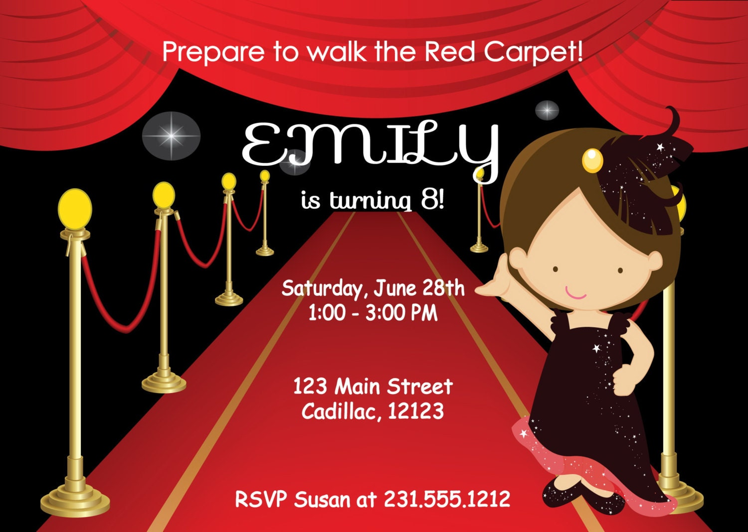 Red Carpet Party Invitation Red how to make tickets on word