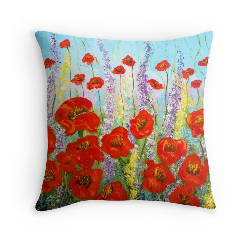 Red Poppy Decorative Pillow : Decorative Pillow Poppy Field Red Poppies Sofa by ArtbyKatsy