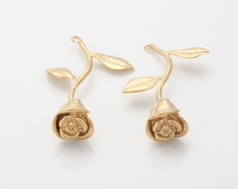 Rose Pendant Matte Gold-Plated - 1 Pieces [GG0070-MG]