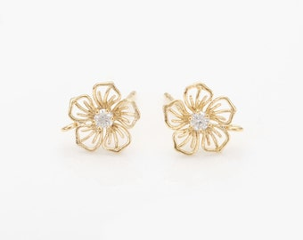Cubic Flower Post Earring ,jewelry Supplies, Wedding Jewelry, Polished Gold- Plated - 2 Pieces [E0250-PG]