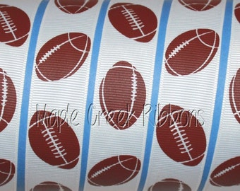 "7/8"" White Ribbon with Brown Footballs Grosgrain Ribbon 7/8"" x 1 yard"