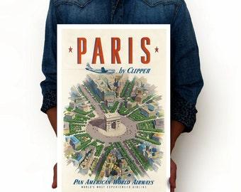"Paris by Clipper - Pan American World Airways Paris France Vintage Poster Art Print, Art Posters, Minimalist Art 13"" x 19"""