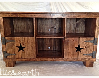 Live Edge Cherry Media Console Rustic Entertainment Center