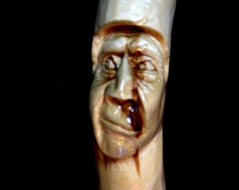 Walking stick,hiking stick, Hand carved, wood spirit carving,  Staff, Mountain man, cane, aspen, cowboy, rustic,tree cabin decor,  B. Madsen