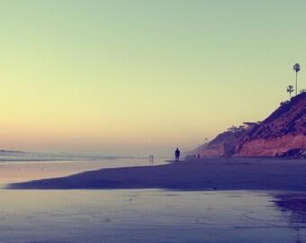 Moonlight Beach Sunset, Cliffs, Palm Trees, Pacific Ocean, Encinitas, San Diego, California