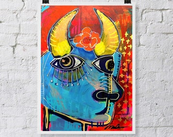 Picasso Art, Colorful Bull, Spanish Bull, Picasso Bull, Abstract Cubism, Cubist Print, Colorful Art, Folk Art, Folk Art Print, Unique Print
