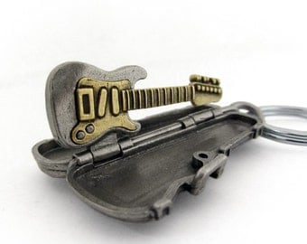 Electric Guitar Keychain - Strat, Musical Instrument, Stratocaster