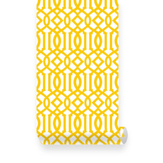 Yellow Trellis Wallpaper: Items Similar To Large Imperial Trellis Pattern Yellow