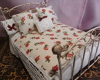 Beautiful vintage style wrought iron bed with accessories