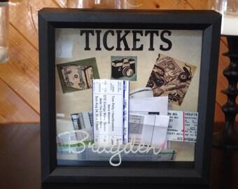 Personalized ticket stub momento top loading drop box souvenier shadow box