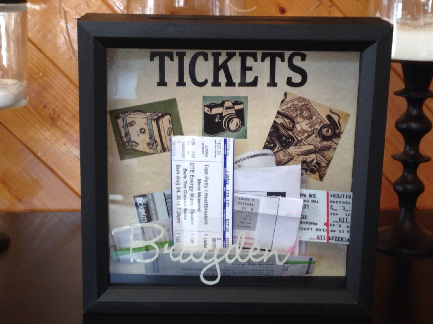 personalized ticket stub momento top loading drop box. Black Bedroom Furniture Sets. Home Design Ideas
