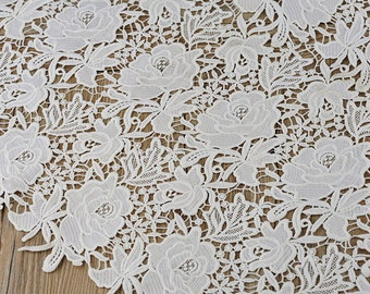 High Quality Off White Bridal White Lace Fabric, Thick Retro Embroidered Lace, Chic Wedding Dress Lace, Veil Lace Fabric E8048