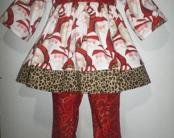 Girls Christmas Winter Leopard Cheetah Cheeta Santa Girl Boutique Birthday Party Ruffle Pant Set Outfit! Animal Print Santa