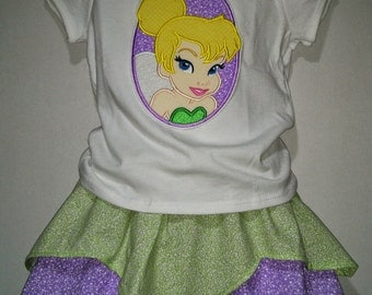 Princess Tinkerbell Tinker Bell Tink Peter Pan Boutique Birthday Party Twirl Twirly Skirt Set Outfit Fairy Neverland Pirate Jake Fairies