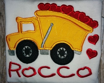 Dump Truck and Hearts Valentine's Day Embroidered Shirt T-Shirt Boy! Vehicle Car