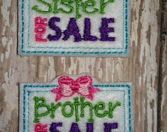 Set of 4 Brother Sister For Sale Sign Feltie Felt Embellishment Bow! Birthday Party
