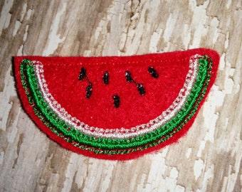 Set of 4 Watermelon Slice Food Fruit Glitter Feltie Felt Embellishment Bow! Felties Applique Party