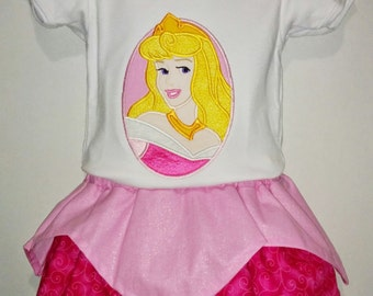 Princess Aurora Sleeping Beauty Boutique Birthday Party Twirl Twirly Skirt Embroidered Shirt TShirt Set Outfit! Sizes 2 ,3, 4, 5, 6, 7, 8