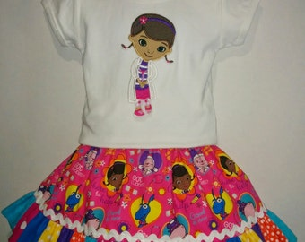 Doc McStuffins Lambie Stuffie Hallie Boutique Birthday Party Twirl Twirly Skirt Embroidered Shirt TShirt Set Outfit!