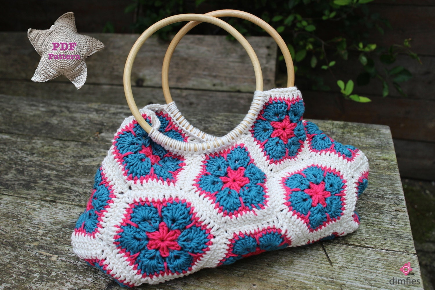 Crochet pattern African flower bag by Dimfies on Etsy