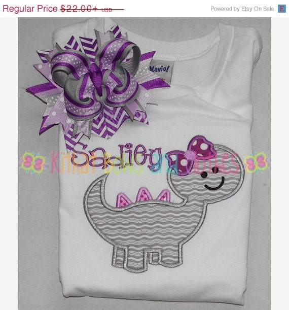 On sale girly dinosaur applique shirt and by for Girly dinosaur fabric