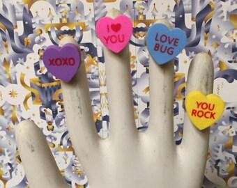 Valentines Conversation Heart Rings