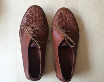 vintage womens brown leather woven detail oxford flats brogues size 5.5