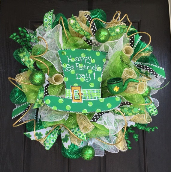 st patrick 39 s day deco mesh wreath st patrick 39 s mesh. Black Bedroom Furniture Sets. Home Design Ideas