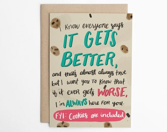 It Gets Better (with Cookies), Encouragement Card, Here For You Card, Support Card, LGBTQ Support Card, Cards For Allies/C-264