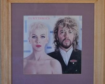 """Eurythmics """"Revenge"""" album with maple frame and violet matte, vinyl music art, album art, framed music, maple frame, wall art, rec room art"""