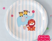 CLEARANCE - Dessert PLATES 18.5cm / BLUE Circus Animals / Pk 12 / Disposable / Birthday Party Decorations Supplies / Baby Shower