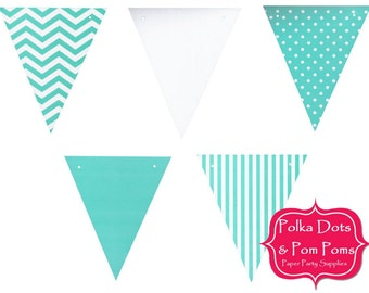 50 AQUA Sea Green TEAL Gloss Paper BUNTING Flags / Pennant / Garland / Birthday Party Decoration Ideas & Supplies / Wedding / Baby Shower