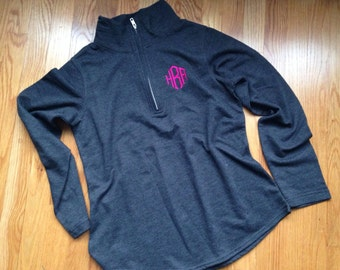 Monogrammed 1/4 zip french terry