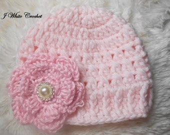 Baby hat, Soft Pink baby Hat, Baby girl Beanie, Baby Newborn Hat, Newborn Beanie, Crochet Baby Hat, white , Baby Boy, Newborn Hat