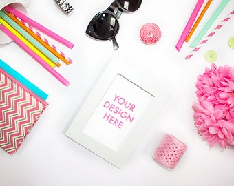 Styled Stock Photography Frame | Desk Stock Photo | Colorful | Summer | Pink | Office Stock Photo | Neon Colors | Styled Stock Photography