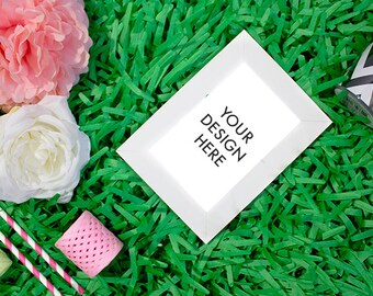Styled Stock Photo Frame | Stock Photo | Green | Pink | White | Roses | Website Design Background | Stock Photography | Summer | Floral