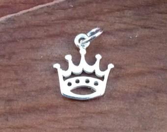 Crown Charm, Silver Crown Charm, Open Crown Charm, Sterling Silver Charm, Crown Pendant, Cut Out Crown Pendant, PS0117