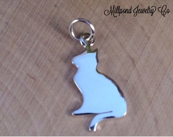 Silhouette Kitty Charm, Cat Charm, Silhouette Cat Charm, Sterling Silver Kitty Charm, Animal Lover Charm, Animal Charm, PS0107
