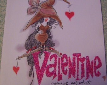 Vintage humorous American Greetings witch and broom valentine Valentine's Day card