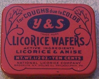 Vintage Y & S Licorice Wafers full advertising tin