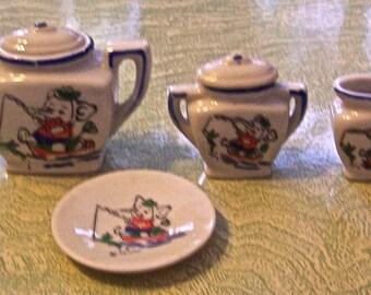 Items similar to Clown Tea Set Teapot Sugar Bowl Creamer ...