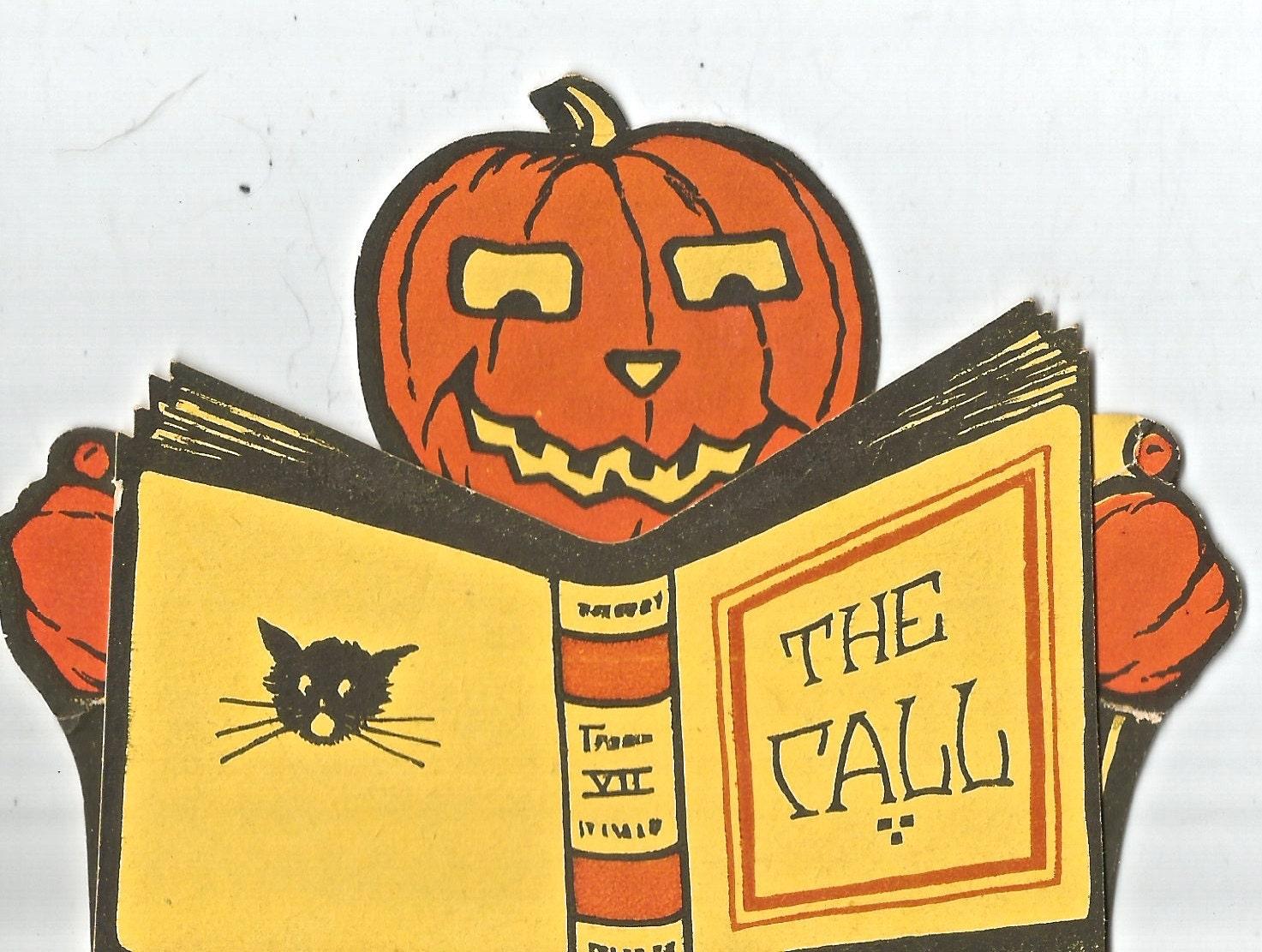 Vintage die cut Halloween party invitation black cat JOL pumpkin ...
