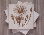 DAISY flower wood engraved mini greeting card