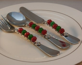 Beaded Appetizer Set - (Fork, Spoon, and Spreader)