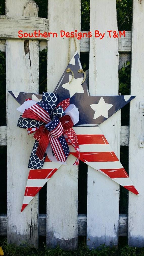 Patriotic Star Wooden Door Hanger Star Door By Southerndesignsbytm