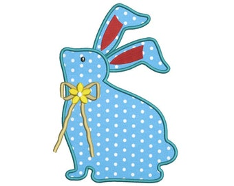 Bunny With a bow Applique Machine Embroidery Digitized  Design Pattern - Instant Download - 5x7, 6x10